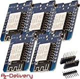 AZDelivery 5 x D1 Mini NodeMcu mit ESP8266-12E WLAN Modul für Arduino mit gratis eBook, 100% WeMos kompatibel
