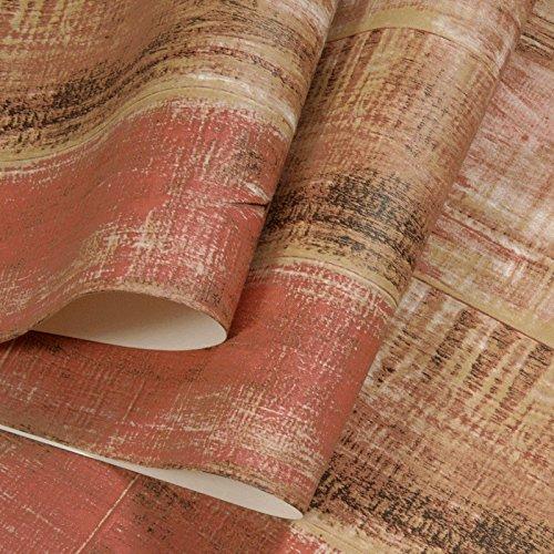 MultiKing Tapete Retro Vintage Holzmaserung Selbstklebende wasserdicht Wallpaper Studentenwohnheim Sommer Zimmer alten Imitation Holzleim Wallpaper, rot