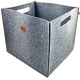 3-er Set Box Filzbox Aufbewahrungskiste Aufbewahrungsbox Kiste für Allelei aus Filz, Korb, Kiste, Boxen, Aufbewahrung für Ikea Regal, Kofferraum, Kellerregal, 3 Stück (Grau)