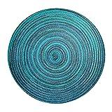 Bast Platzset rund ca. 40 cm Ø Kunststoff Tischset Untersetzer waschbar Türkis Blau meliert