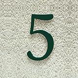 Colours-Manufaktur Hausnummer Nr. 5 - Schriftart: Klassisch - Höhe: 20-30 cm - viele Farben wählbar (RAL 6005 moosgrün (grün) glänzend, 20 cm)