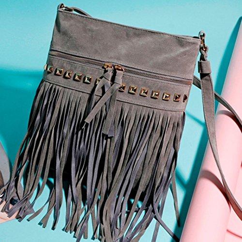 Koly_messenger bag borsa tote della spalla della borsa delle donne Grigio