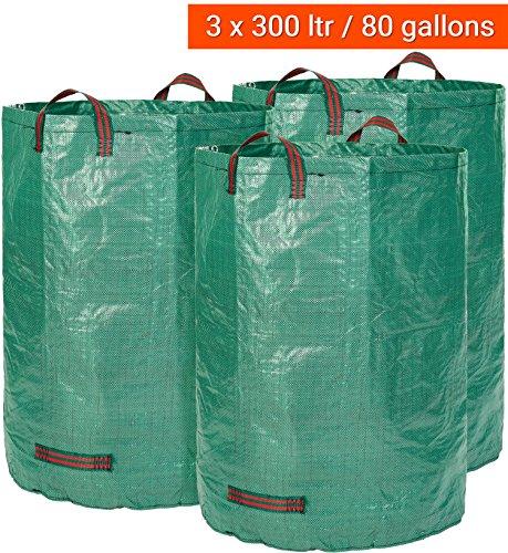 Gartensack 3 x 300 Liter - Der Vergleichssieger 2018* - 3 Premium Gartensäcke XXL - Stabile Gartenabfallsäcke aus Extrem Robustem Polypropylen-Gewebe (PP) 150gsm - Selbststehend und Faltbar Laubsäcke von GloryTec