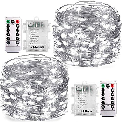 Tobbiheim 2 Stück Lichterketten Batterie Außen 60 LED 8 Meter IP68 Wasserdicht 8 Modi mit Fernbedienung und Timer DIY Dekoration Kupferdraht für Weihnachten, Garten, Hochzeit - Kaltweiß (Timer Mehrere)