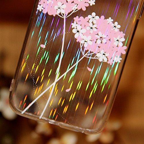 Etche Housse Etui pour iPhone 6/6S 4.7 pouces,Soft Silicone TPU Coque Cover pour iPhone 6/6S 4.7 pouces,Etui de Protection Cas en caoutchouc en Ultra Slim Souple Clair Gel Bumper Laser Bling Glitter D fleur rose