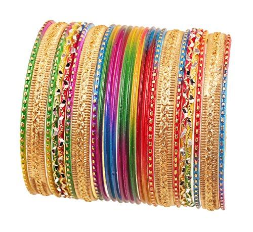Touchstone Wunderschöne Regenbogen Armreif Collectionindian Bollywood bunte Armreifen Armbänder für Damen 2.75 Set 2 Multicolor -2