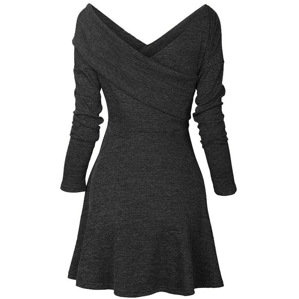 Eleganti Invernali Vestiti Pullover Donna Obliquo Abito Collare nRxfIf 3a173b753fe