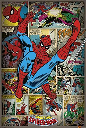 """Marvel """"Spider-Man retro"""" Maxi Poster, Multicolor - Marvel Spider-Man retro Maxi Poster - Enrollado en un cartón envío tubo - Producido en GB - 61cm x 91.5cm (24 x 36 inches) en tallas - Producto con licencia oficial"""
