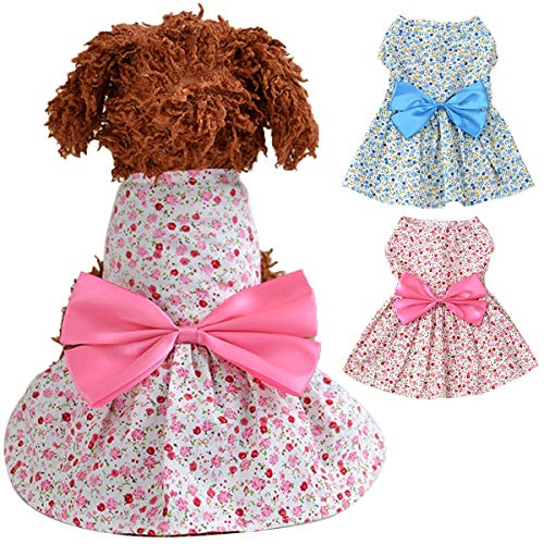 Ribbon Pet Kostüm Pink - Cute Floral Puppy Dog Katze Prinzessin Dress Bowknot Ribbon Rock Pet Apparel Jacke Kostüme Die Prinzessin Dress des Bow-gebundenen Hundes (Color : Pink, Size : M)
