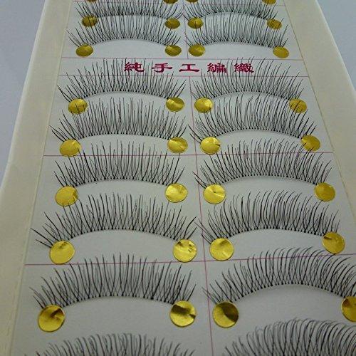 40 Pairs Natural Look Taiwan Handmade Fake False Eyelashes Eye Lashes Transparent Stem High Quality #217 Classical Eyelashes - MZZH14001 by BMGIC