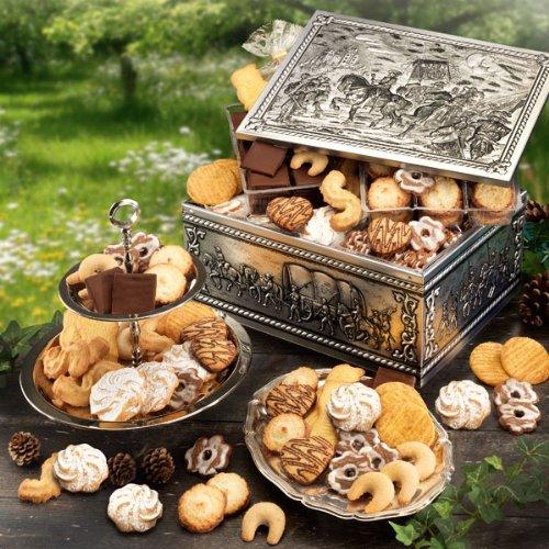 """""""Immer Wieder"""", Keksdose mit Spritzgebäck & Co, Gebäckmischung, in silberner Metall-Kiste, ideales Weihnachtsgeschenk, 1 x 1,7 kg"""
