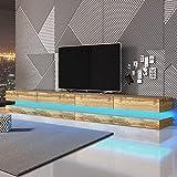 Aviator Double – TV Lowboard/TV Schrank/Hängeboard (280 cm, Wotan Eiche Matt, mit LEDs)