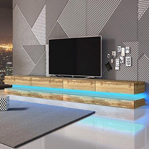 Aviator Double - Le Meuble TV Suspendu (280 cm, Aspect Bois de Chêne de Votan avec l'éclairage LED Bleue)