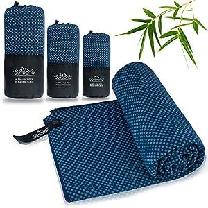 Outdoro Reisehandtuch mit Bambus Kohle ultra-leicht & saugfähig - komfortabler als Mikrofaser-Handtücher - ideales Sport-Handtuch, Badetuch, Strand-Handtuch, Sauna Towel für Reise & Fitness (XL (190 x 75 cm), blau)