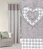 Blickdicht Vorhang Schlaufenschal 140x250 cm KEIRA dunkelbeige kariert Stickmotiv Herzen Schlafzimmer Lichtundurchlässigkeit Lein Optik Sweet Home