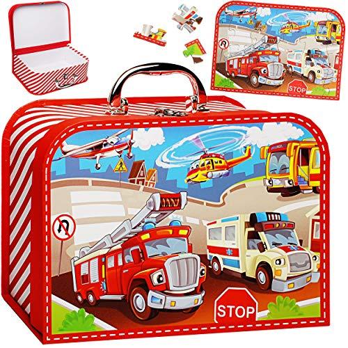 alles-meine.de GmbH Koffer / Kinderkoffer + Puzzle - 20 Teile - Auto & Feuerwehr - 26 cm - GROß - Pappkoffer - Puppenkoffer - Kinder - Pappe Karton - Fahrzeuge Verkehr Autos Kran..