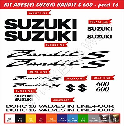 Pegatinas Stickers Suzuki Bandit S600s-600Kit 16piezas–Elige colore- Moto Motorbike Cod.0079, Nero cod. 070