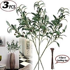 Idea Regalo - 71,1cm oliva piante artificiali gambi rami piante foglie verde frutta ramo foglie finti per home office Ndoor fuori diy-wreath Decor Lyndee