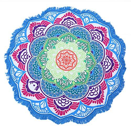 Blue Mühelos Baumwolle (Große runde Tapisserie Lotusblüte Mandala  Strandtuch und Decke Tischdecke Fransen Quasten Stranddecke Yogamatte Blue-1)