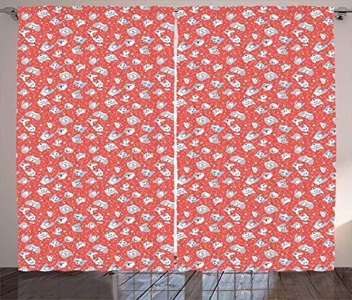 ABAKUHAUS Hunde Rustikaler Vorhang, Hunde in Santa Claus Hüte Weihnachten, Wohnzimmer Universalband Gardinen mit Schlaufen und Haken, 280 x 245 cm, Dunkler Coral Pale Grau Weiß