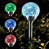 COLOUR CHANGING STAINLESS STEEL SOLAR POWER LED CRACKLE BALL LIGHT (2)