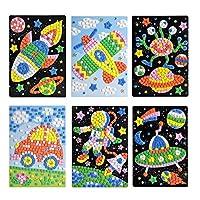 Toyvian DIY mosaic sticker art sticky diy handmade artistic kit for kids - astronaut, alien, car, ufo, spaceship, airplane 6 pieces