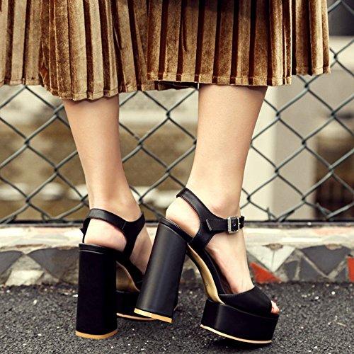 MissSaSa Femmes Sandales Talons Bloc Bout Ouvert Chaussures Plateforme Noir