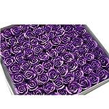 TININNA 81 Stück Handgefertigt Rose Blume Rosen-Duftseifen in Geschenk-Box Hochzeit Lila EINWEG Verpackung