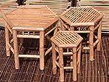 BIHL 3 er Set Bambushocker Blumenhocker 6 Eckig