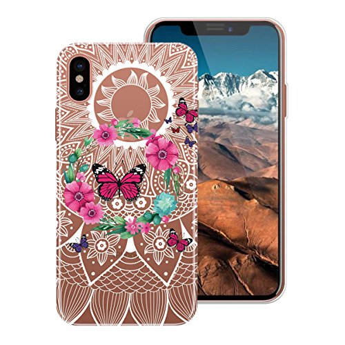 WE LOVE CASE Coque iPhone X, Ultra Fine Souple Gel Coque iPhone X Silicone Motif Coque Girly Resistante, Coque de Protection Bumper Officielle Coque Apple iPhone X Ananas Papillon