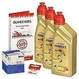 Ölwechselset Castrol Power1 10W-40 Öl + Mahle Ölfilter für Honda CB 750 Four, Bj. 69-78 (Typ K0 K1 K2 K6 K7); Motoröl + Filter + Dichtring