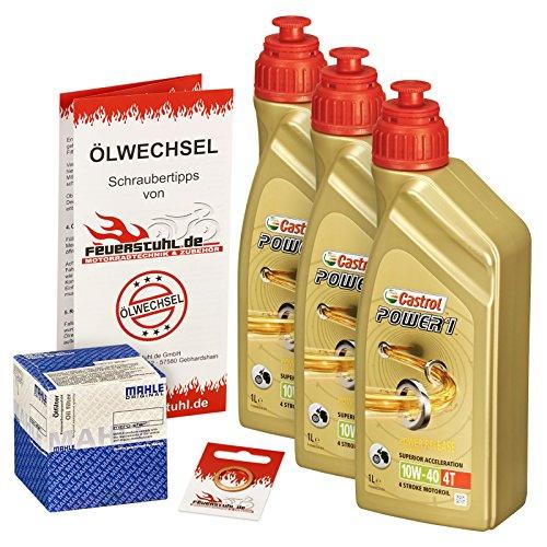 Castrol 10W-40 Öl + Mahle Ölfilter für Yamaha YZF-R6 /S Edition, 06-15, RJ11 RJ15 - Ölwechselset inkl. Motoröl, Filter, Dichtring