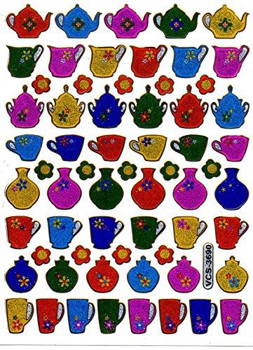 Kaffee Kaffeetasse Teekanne Kaffekanne Kanne Tasse bunt Aufkleber 62-teilig 1 Blatt 135 mm x 100 mm Sticker Basteln Kinder Party Metallic-Look