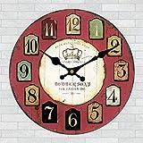 Oudan Wanduhr Nicht Ticking Anzahl Quarz Wanduhr Wohnzimmer Dekorative Innen Uhr Schlafzimmer Uhr Küchenuhr Retro Wanddekoration Wall12 In, B-12 Zoll (Farbe : D12, Größe : 12 In.)
