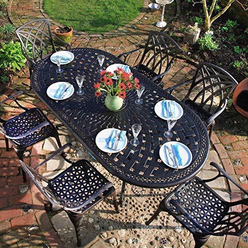 Lazy Susan - Catherine 210 x 105 cm Ovaler Gartentisch mit 6 Stühlen - Gartenmöbel Set aus Metall, Antik Bronze (Mary Stühle, Blaue Kissen) (Ovaler Esstisch-set 6 Für)