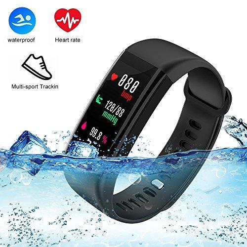 Fitness Tracker mit Herzfrequenz Monitor, weton Schrittzähler mit Blut Druck Activity Tracker Schlaf Monitor IP68 Wasserdicht Farbe Bildschirm Smart Bluetooth Sport Armband für iPhone Android -