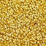 HOUSWEETY 500PCs Gold & Silver Plated Round Ball Spacer Beads 2mm - Jewellery Making Findings DIY Crafts
