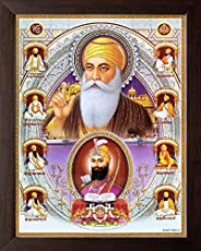 Art n Store: Ten Sikh Gurus and Golden Temple Wall Painting/Poster Painting/Decor Painting with Plane Brown Fr
