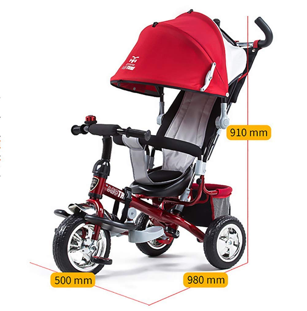 Tricycle Children's Trike with Sun Canopy and Removable Parent Handle Buggy Stroller Fit from 6 Months to 6 Years Boys and Girls Colour Choice,Red GHDE& 4 IN 1 TRIKE: This is a growing with your child innovative kid trike, it follows with your baby's growing up and can be a baby bike, baby walker, or trike with parent pushing rod and canopy. Very Practical: Built with the sturdy aluminum alloy frame in superior strength, Non-slip handle with bell for best touch and added fun in riding, Anti-slip pedals make driving safer, foot brake, stop any time, back storage bin and front basket for storing child's essentials. A variety of safety features such as secure 3-point Y harness, extendable canopy, safety bar and non-slip pedals will all ensure a safe and worry-free ride for you both. 2