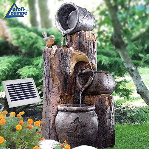 AMUR Solar Gartenbrunnen Brunnen Solarbrunnen Zierbrunnen Wasserfall Gartenleuchte Teichpumpe für Terrasse, Balkon, verbessertes Modell mit Pumpen-instant-Start-Funktion mit Liion-Akku & Led-Licht -