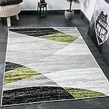 Wohnzimmer Teppich Modern Geometrisches Muster Gestreift Meliert in Grün Weiss Schwarz Grau 80x150 cm