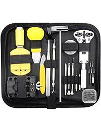 Qimh, 147PCS, kit de reparación de relojes, juego profesional de herramientas para pasadores, abridor de la caja, juego de herramientas para la correa del reloj con estuche de transporte