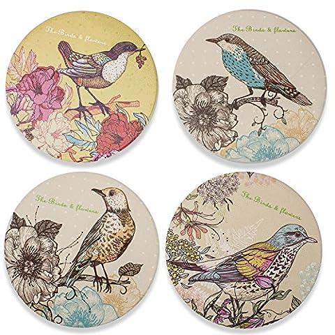 Impression magnifique sous-verres absorbants en céramique 4 pièces d'un ensemble - Bird Patterns