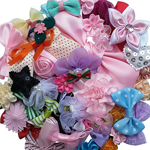 lk 50pcs Ribbon Flowers Bows Craft Wedding Ornament Appliques A0241 by Chenkou Craft (Bulk-ornamente)