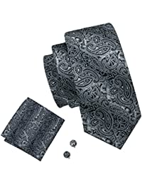 Barry.Wang Paisley Ties for Men Pocket Square Cufflinks Tie Set Woven