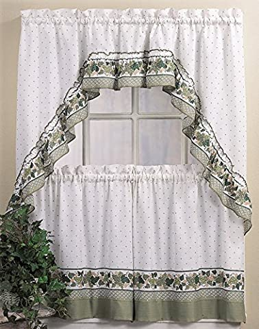 CHF & You Cottage Ivy Country Curtain Tier And Swag Set, Multi, 56-Inch X 36-Inch by CHMJE