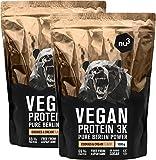 nu3 Vegan Protein 3K Shake | 2 Kg Cookies & Cream Blend | veganes Proteinpulver aus 3-Komponenten-Protein mit 69% Eiweiß | Pulver mit leckererm Kekse Geschmack | Laktosefrei