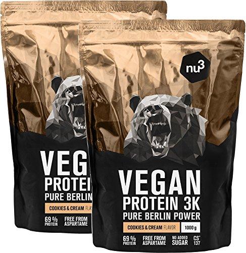 nu3 Vegan Protein 3K Shake - 2 Kg Cookies & Cream Blend - veganes Proteinpulver aus 3-Komponenten-Protein mit 69{d6c81cb5376e80480618d85c9e6659e33ffaf790e37f63306ea13a6bdf66a628} Eiweiß - Pulver mit leckerem Kekse Geschmack - Laktosefrei