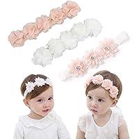 IYOU Fasce floreali per bambine con nastro in grosgrain in similpelle, accessori per capelli per feste, matrimoni…