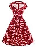 Yafex Damen Freizeit Kleider Knielang Retro A-Linie M BP000001-16